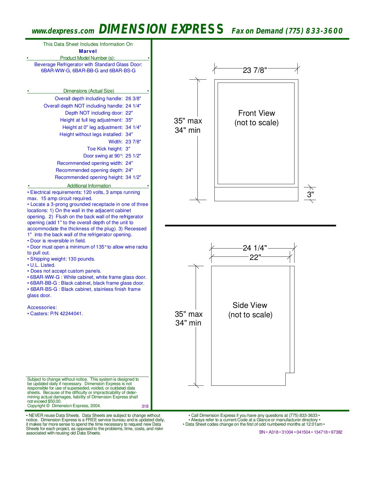 pdf for Marvel Refrigerator 6BAR-BS-G manual