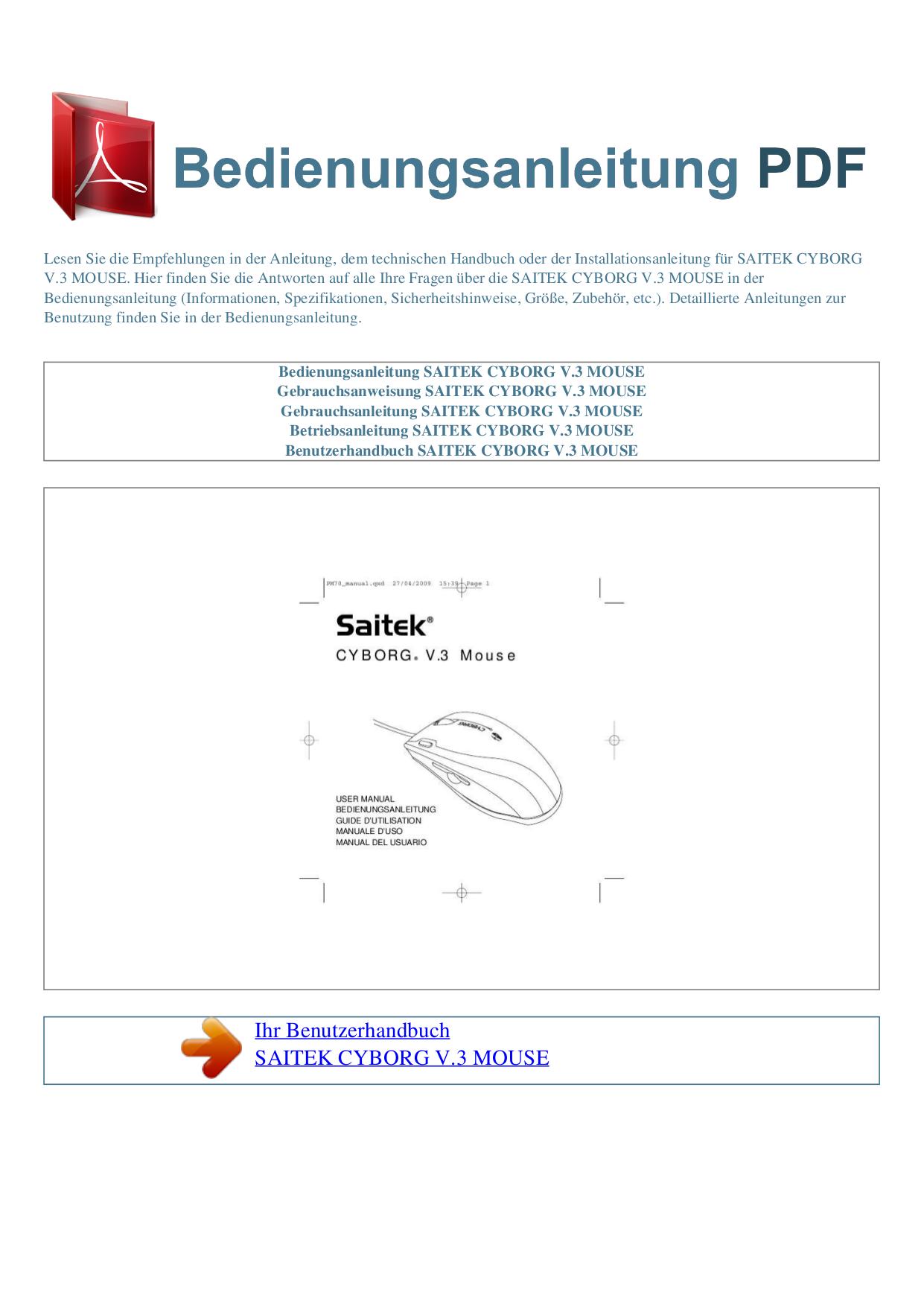pdf for Saitek Mouse Cyborg Mouse manual