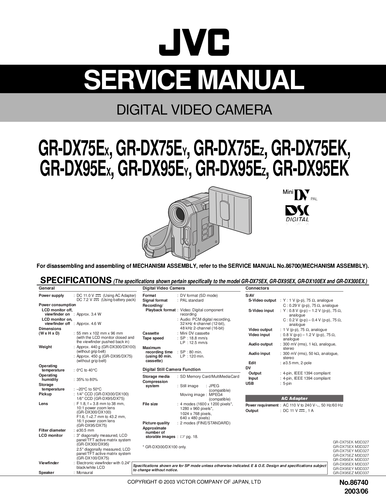 Download free pdf for jvc gr dx300ex camcorders manual for Savio 724 ex manuale