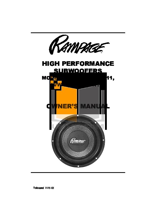 pdf for Audiovox Subwoofer AVW111 manual