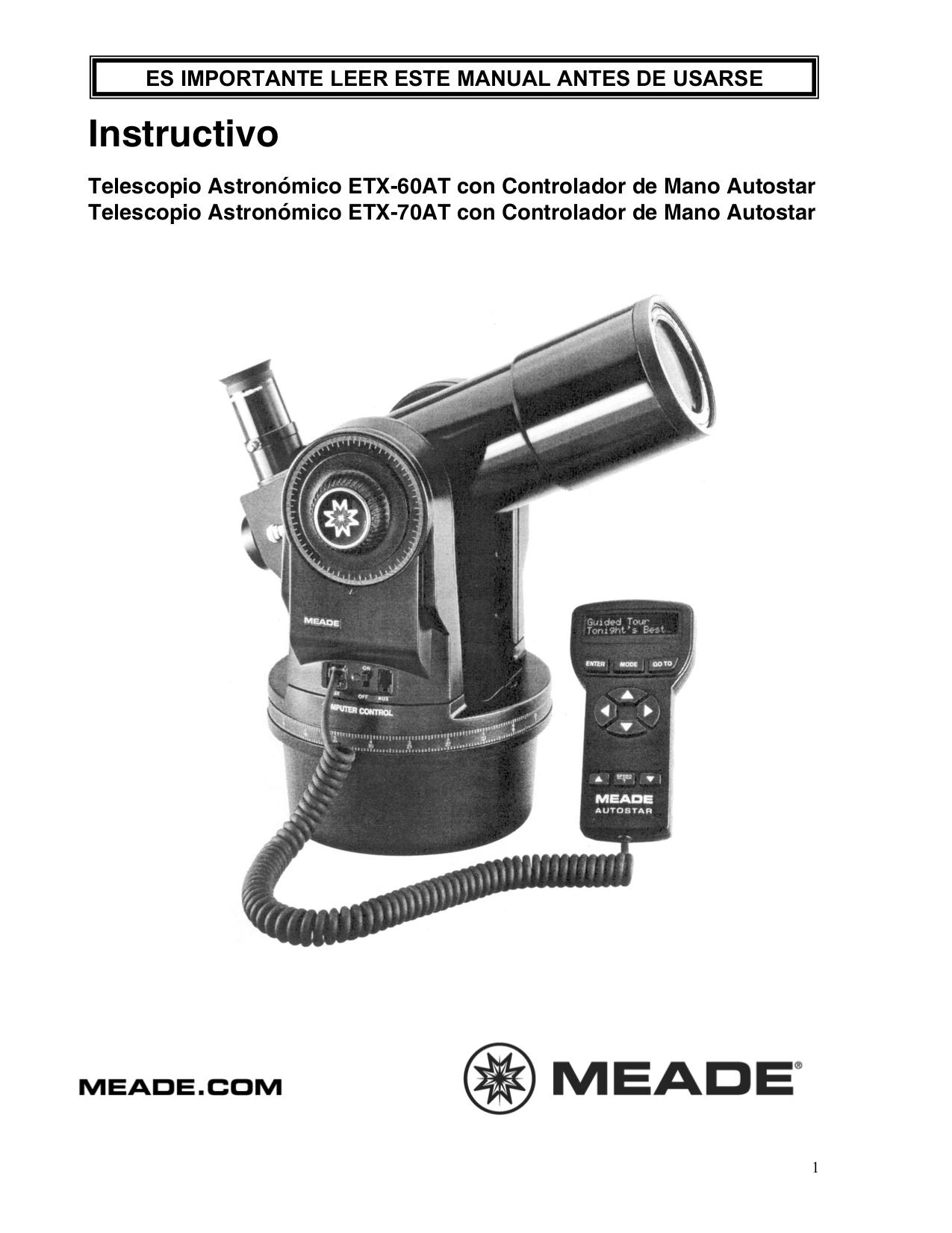 Viewfinder Repair Meade Computerized Telescopes Manual Guide