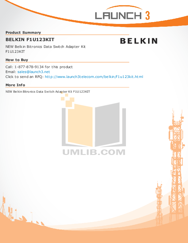 pdf for Belkin Switch F1U123-KIT manual