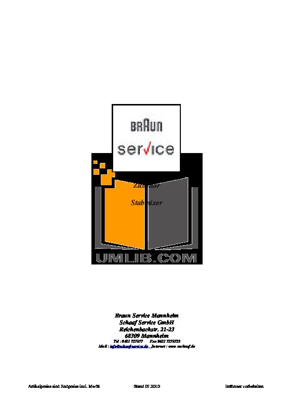pdf for Braun Blender MR5500 manual
