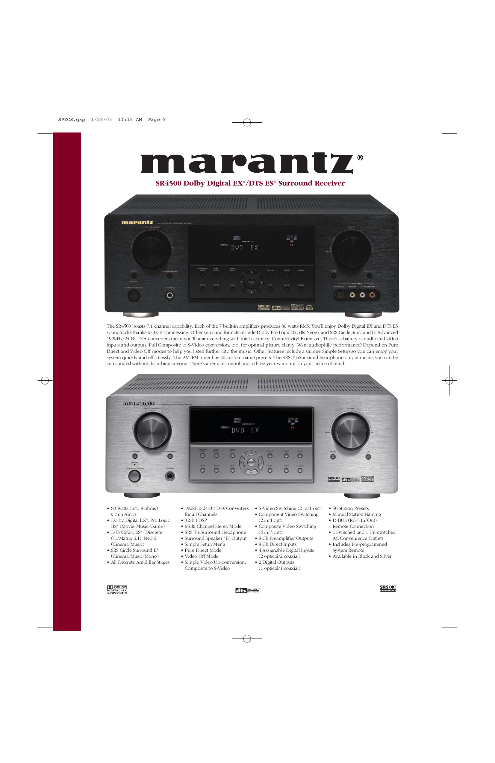download free pdf for marantz sr4500 receiver manual rh umlib com Marantz Receivers Best Marantz Receiver Ever Made
