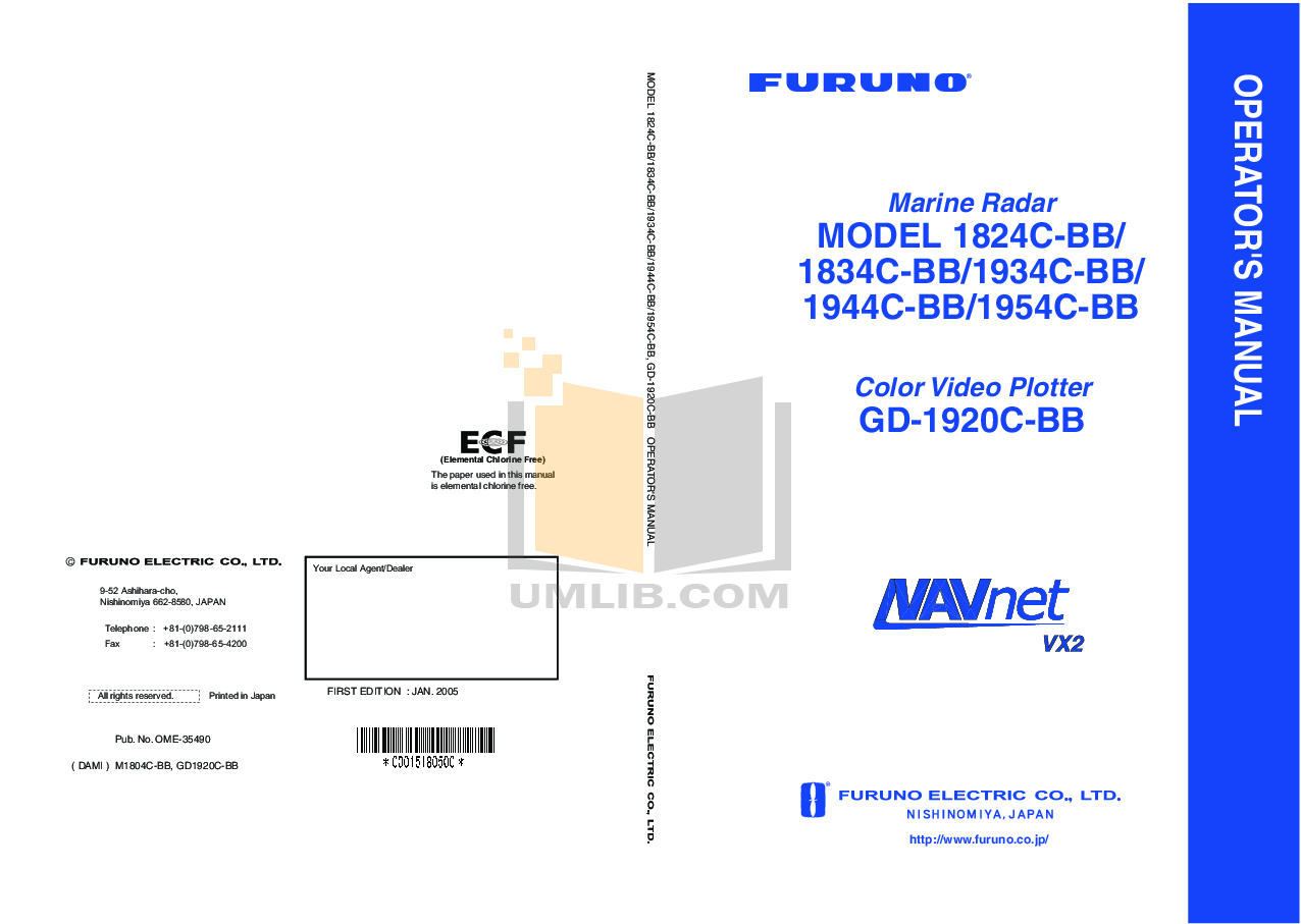 pdf for Furuno Other NavNet 1934C-BB Video Plotter manual