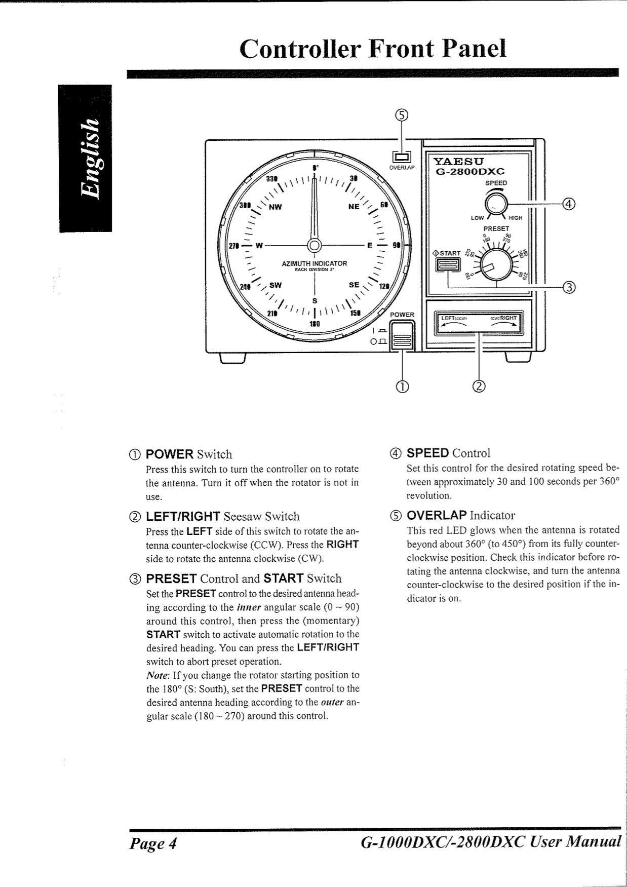 yaesu other g-800sa rotator pdf page preview