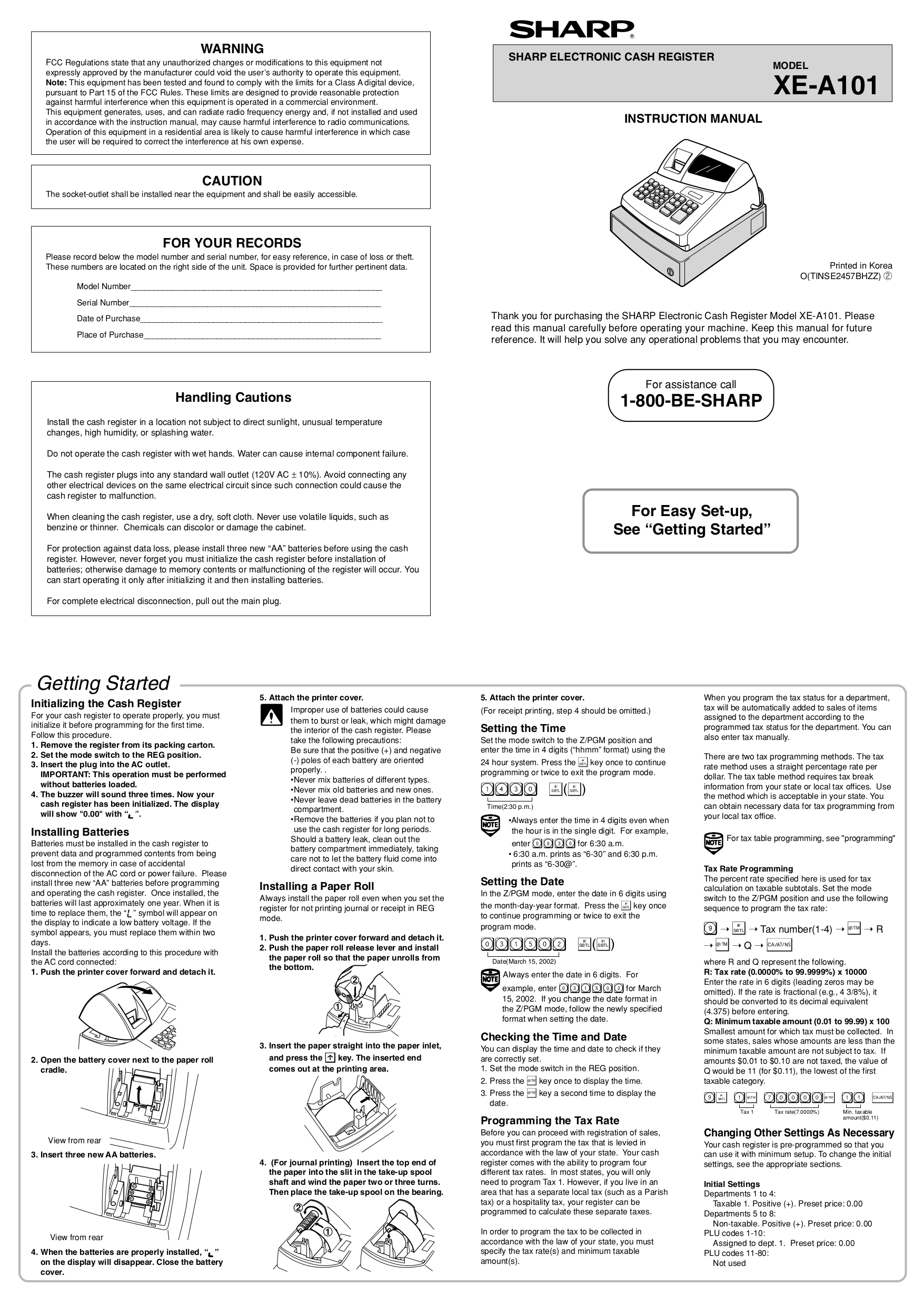 pdf for Sharp Other XE-A101 Cash Register manual