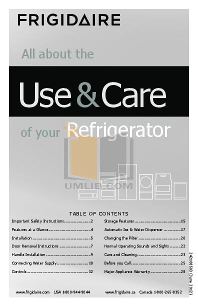 pdf for Frigidaire Refrigerator Professional FPHC2398LF manual
