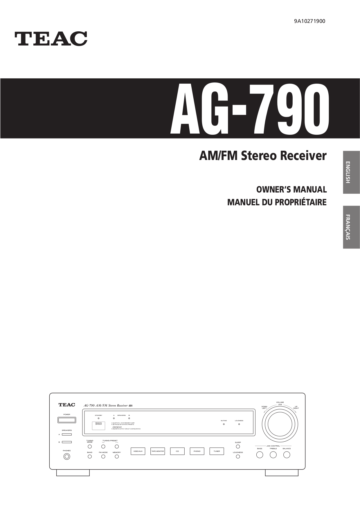Download free pdf for Teac AG-790 Receiver manual