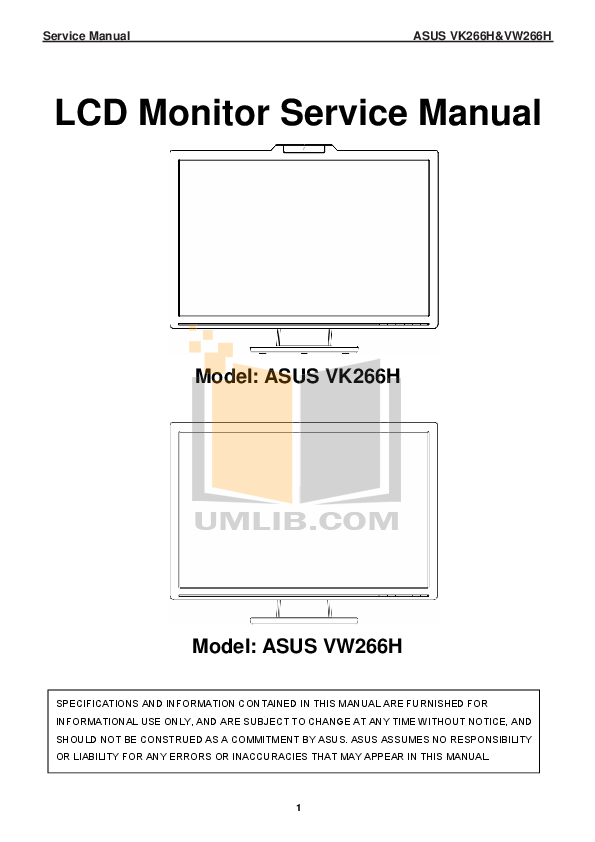 Asus Monitor VW266H pdf page preview