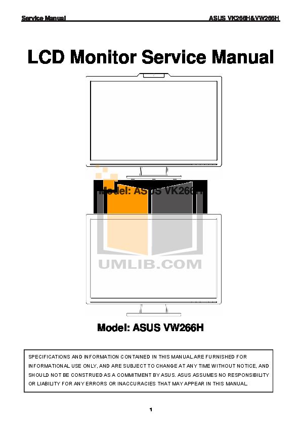 pdf for Asus Monitor VW266H manual