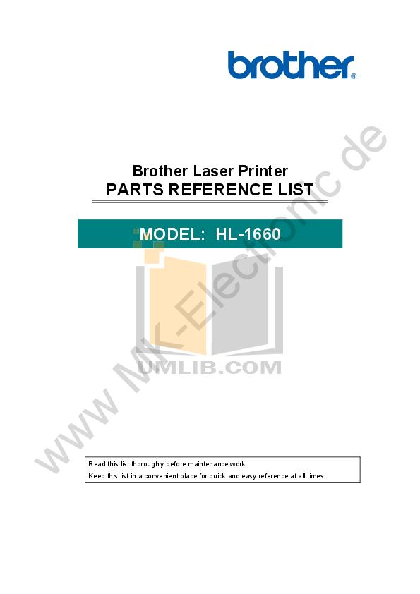 pdf for Brother Printer HL-1660 manual
