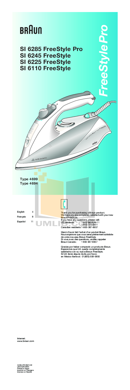 pdf for Braun Other FreeStyle SI6225 Steam Irons manual