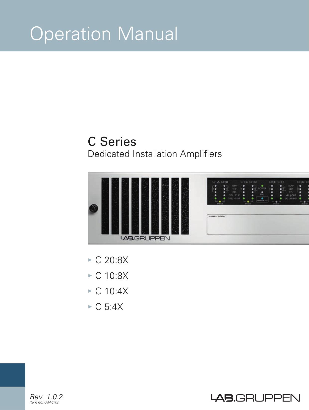 pdf for Lab.gruppen Amp C Series C 20 8X manual