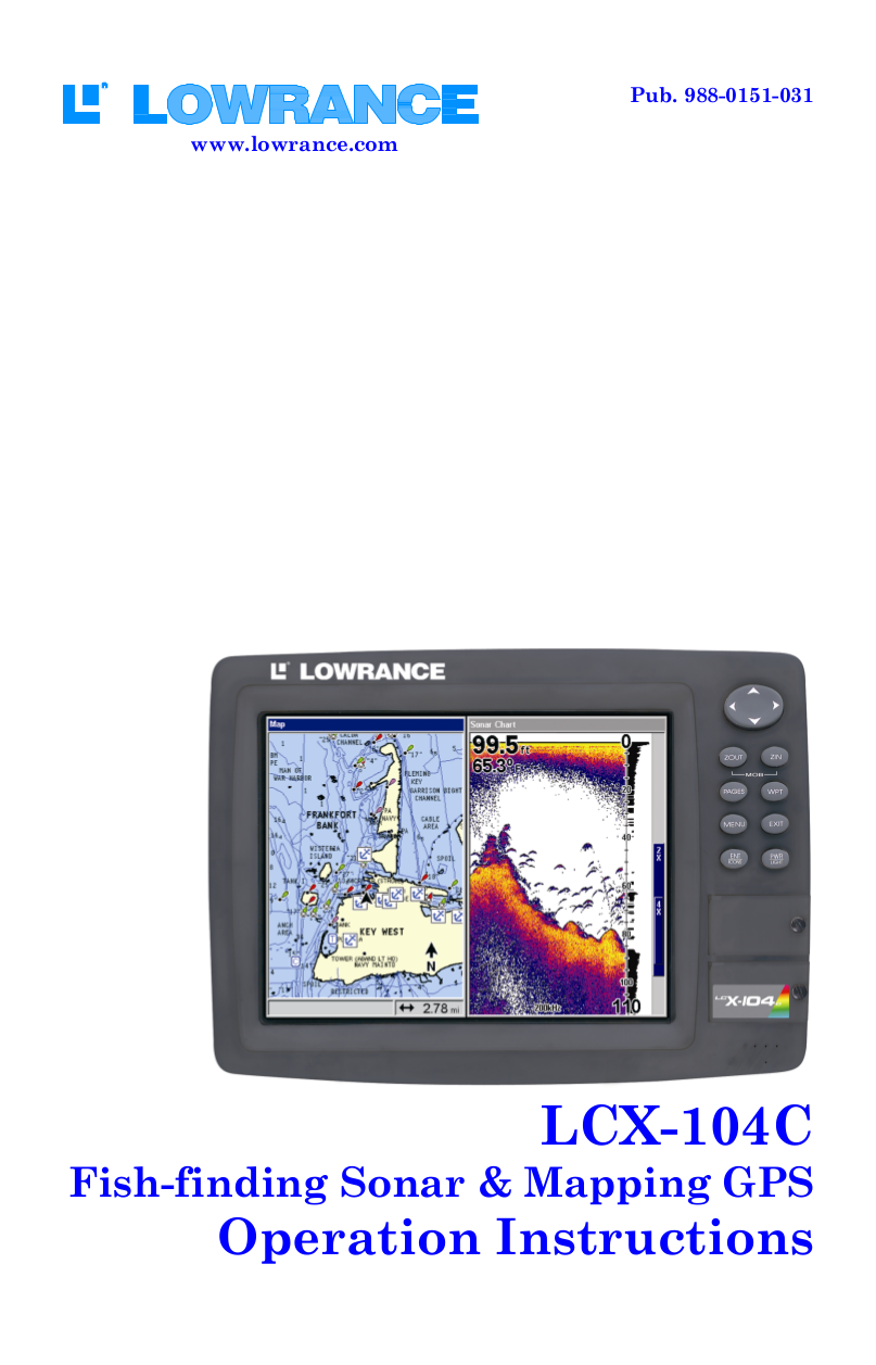 pdf for Lowrance GPS LCX-104C manual
