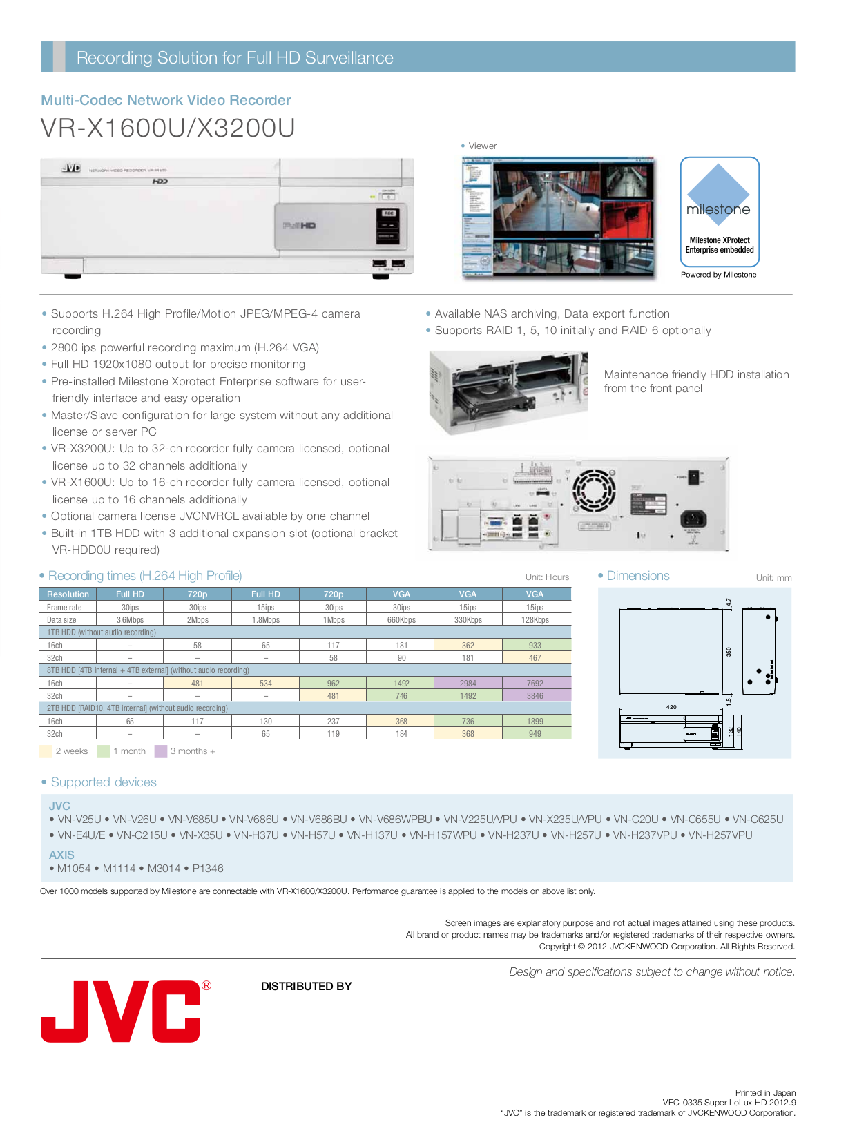 ... JVC Security Camera VN-H257U pdf page preview