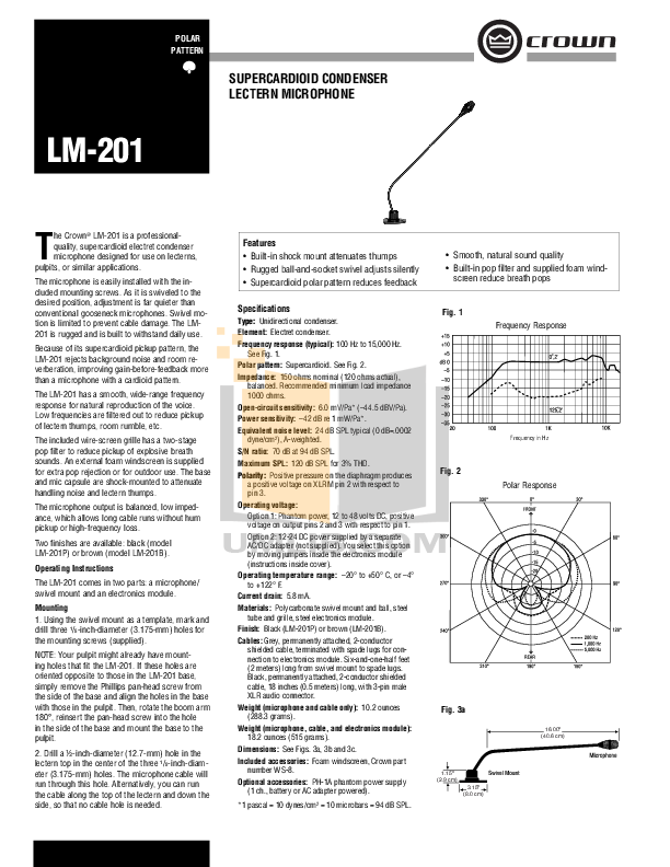 pdf for Crown Other LM-201L Microphones manual