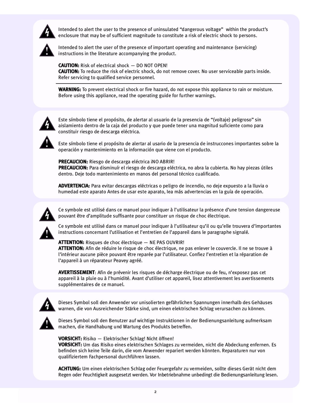 PDF manual for Peavey Amp KB 300