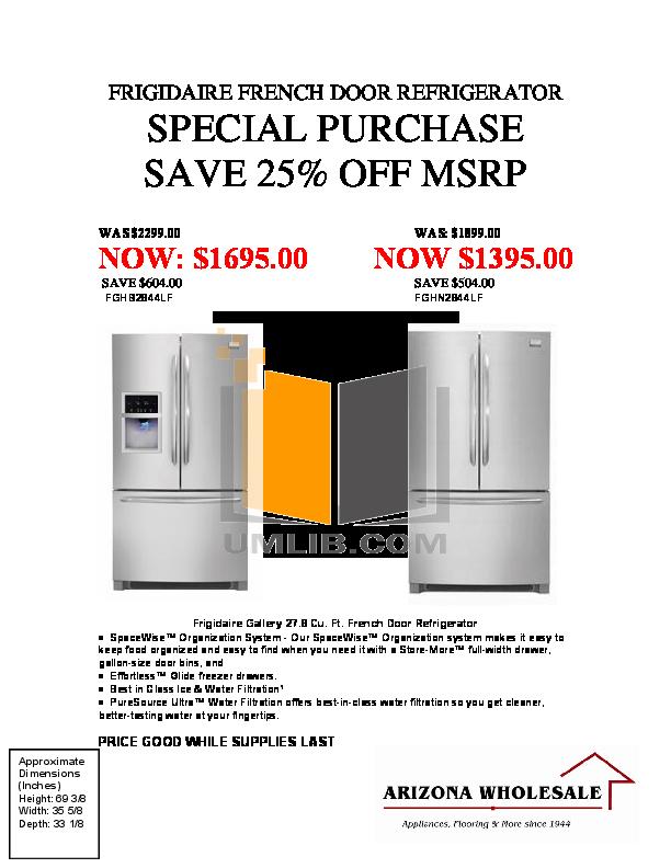 pdf for Frigidaire Refrigerator Gallery FGHN2844LF manual