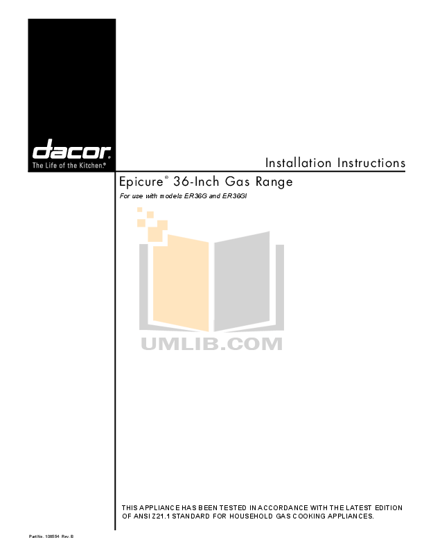 pdf for Dacor Range Epicure ER36GSCH manual