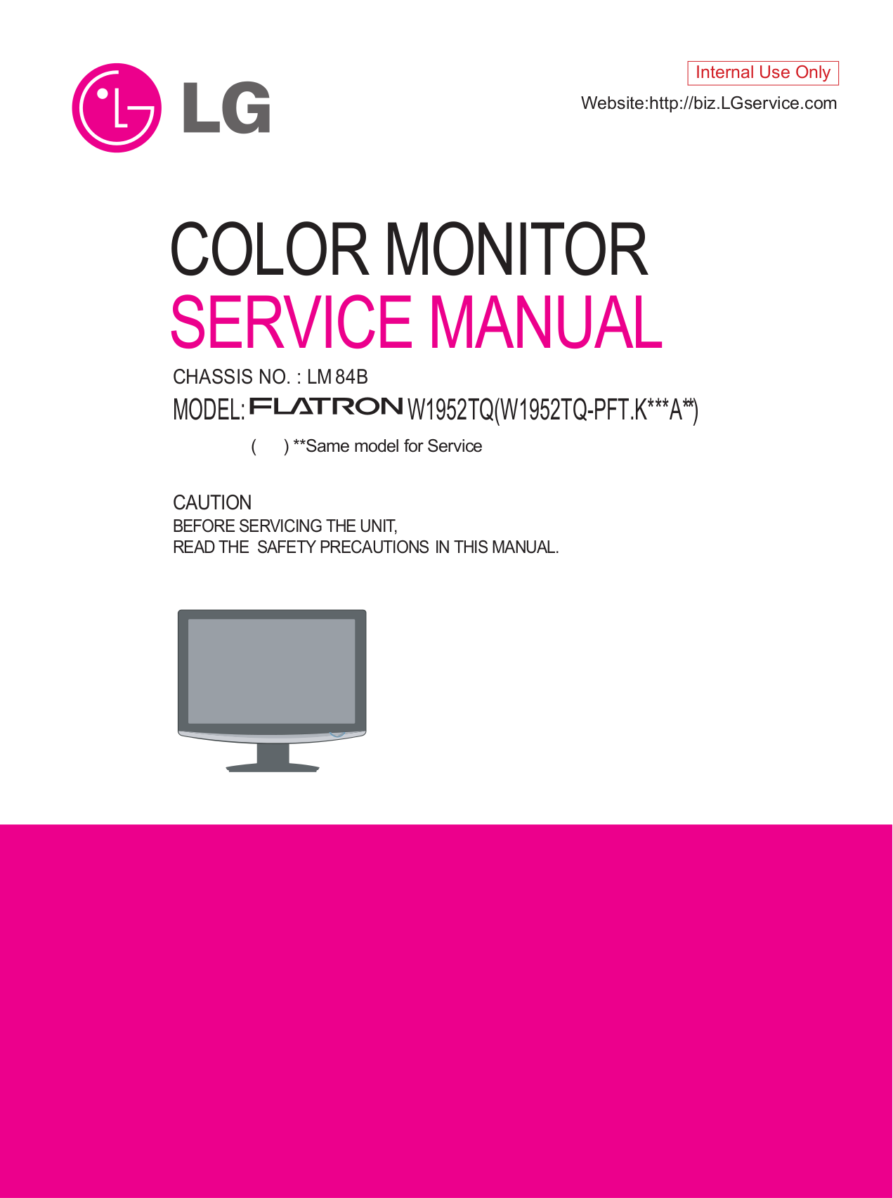 pdf for LG Monitor W1952S manual