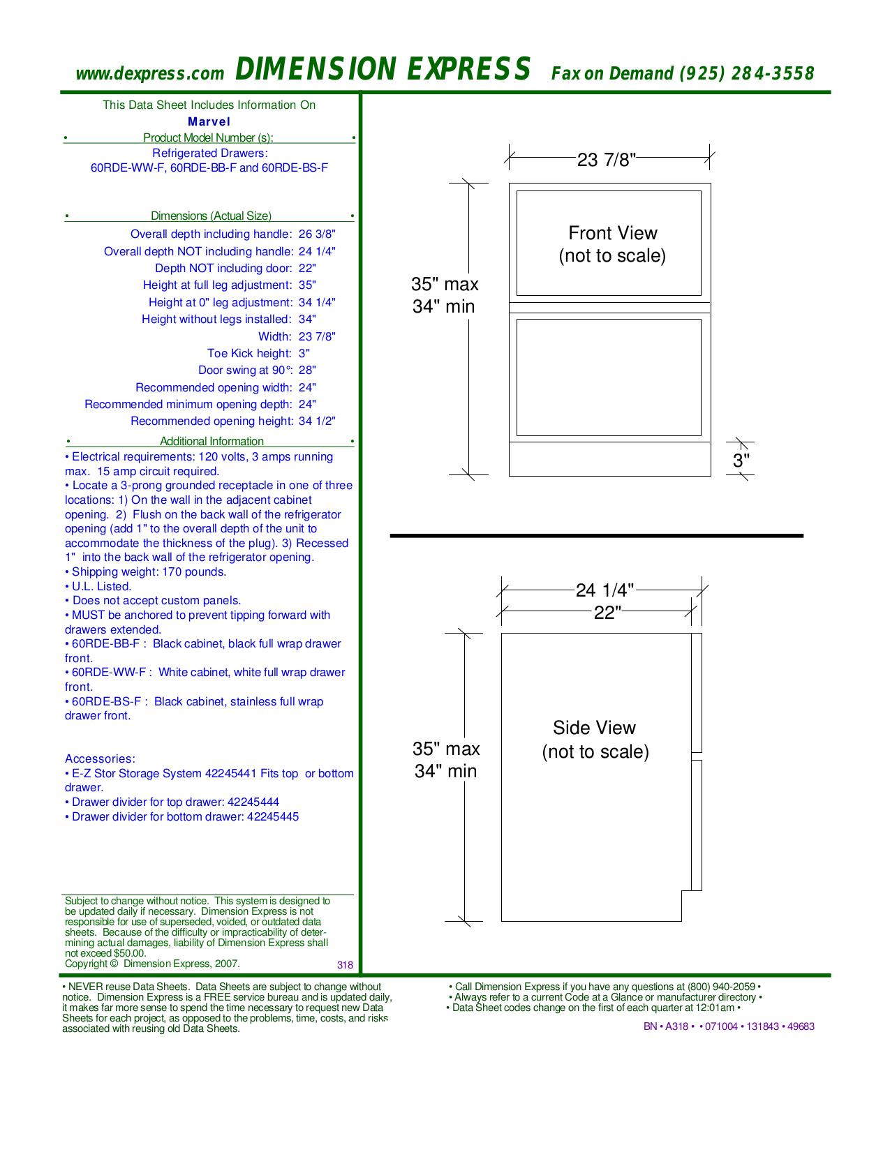 pdf for Marvel Refrigerator 60RDE-BB-F manual
