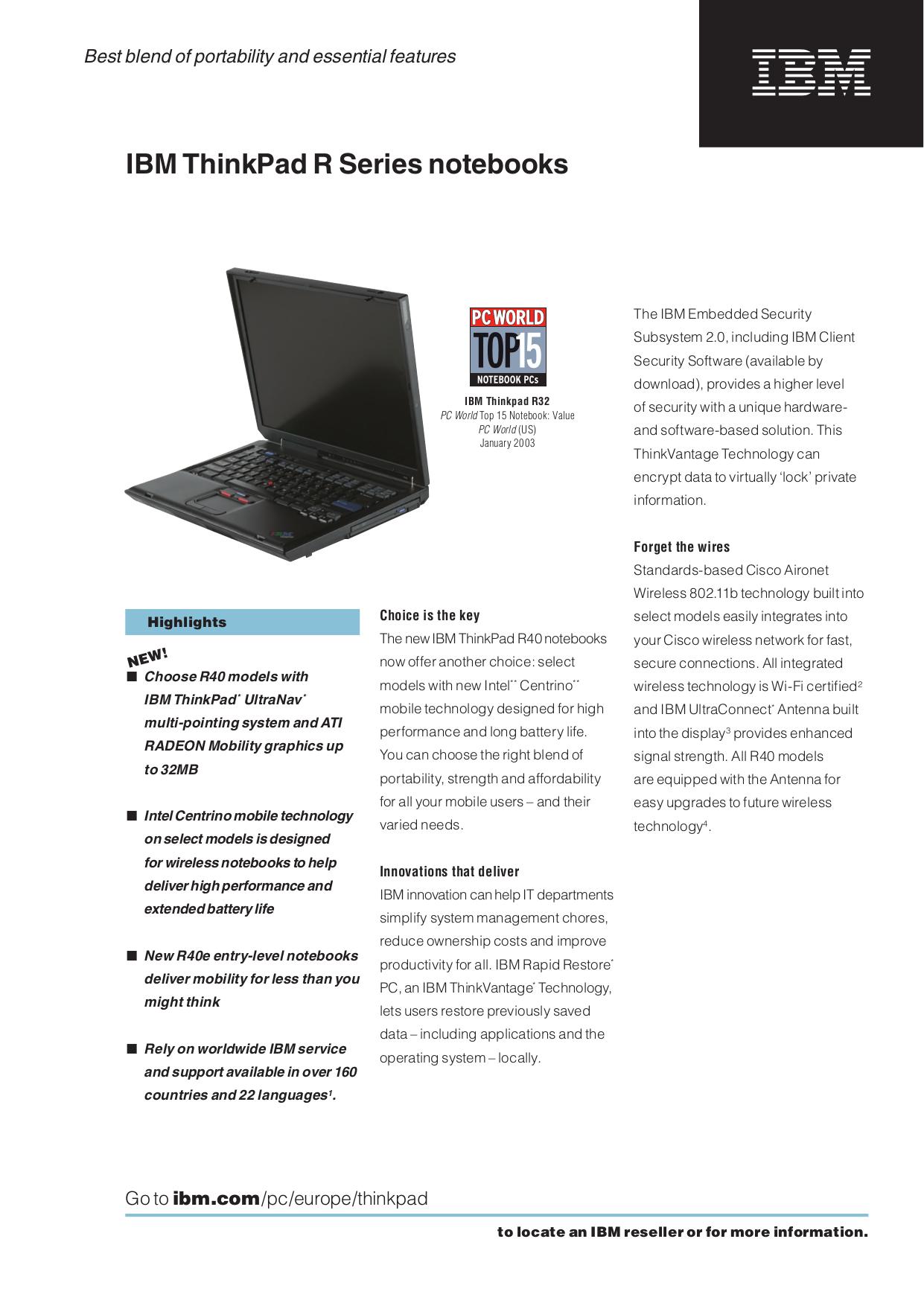 pdf for IBM Laptop ThinkPad i Series 1400 manual