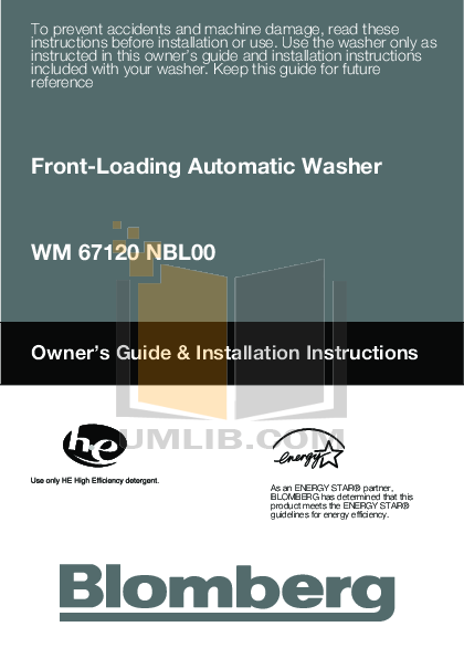 pdf for Blomberg Washer WM67120 manual