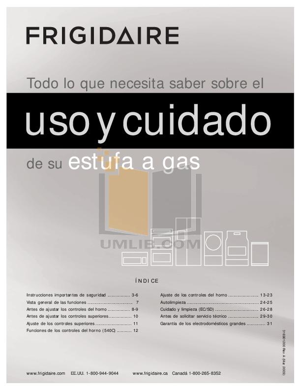 pdf for Frigidaire Range PLGFZ390ECF manual