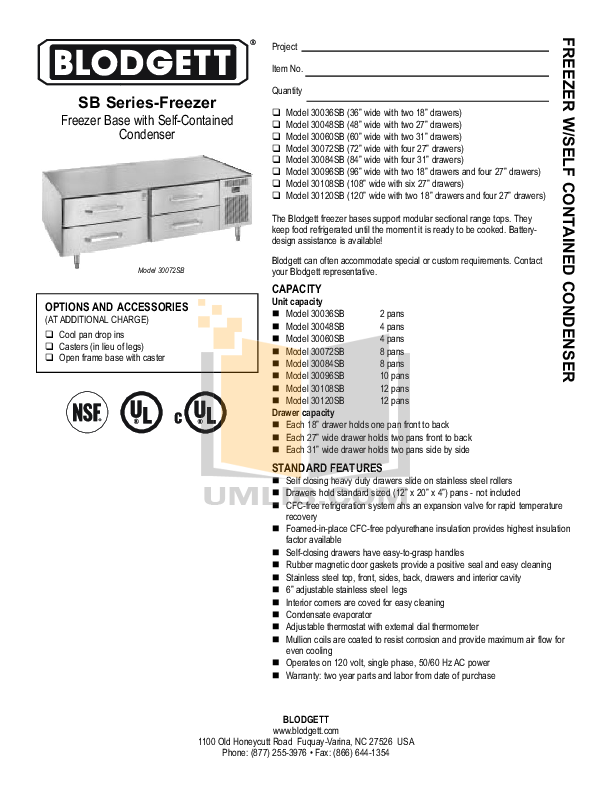 pdf for Blodgett Freezer 30036SB manual