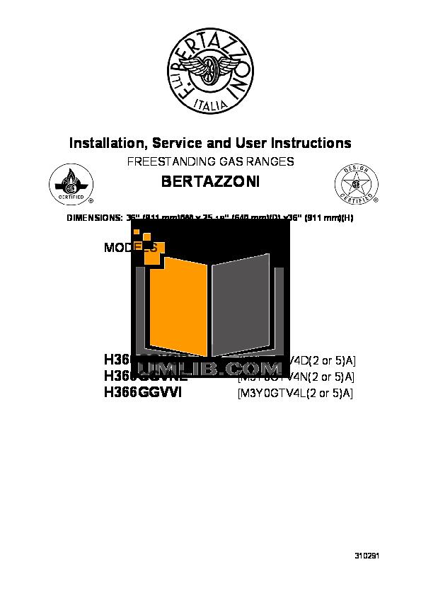 pdf for Bertazzoni Range H366GGVNE manual