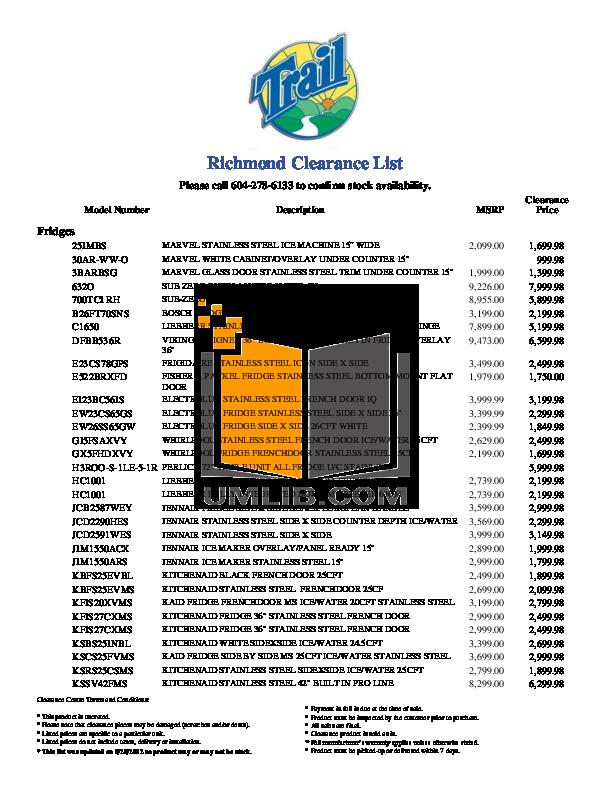 pdf for Frigidaire Refrigerator Professional PHS39EJSS manual