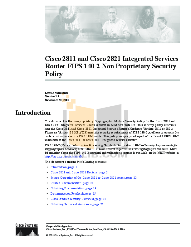 Cisco 2811 and cisco 2821 integrated services routers manual.