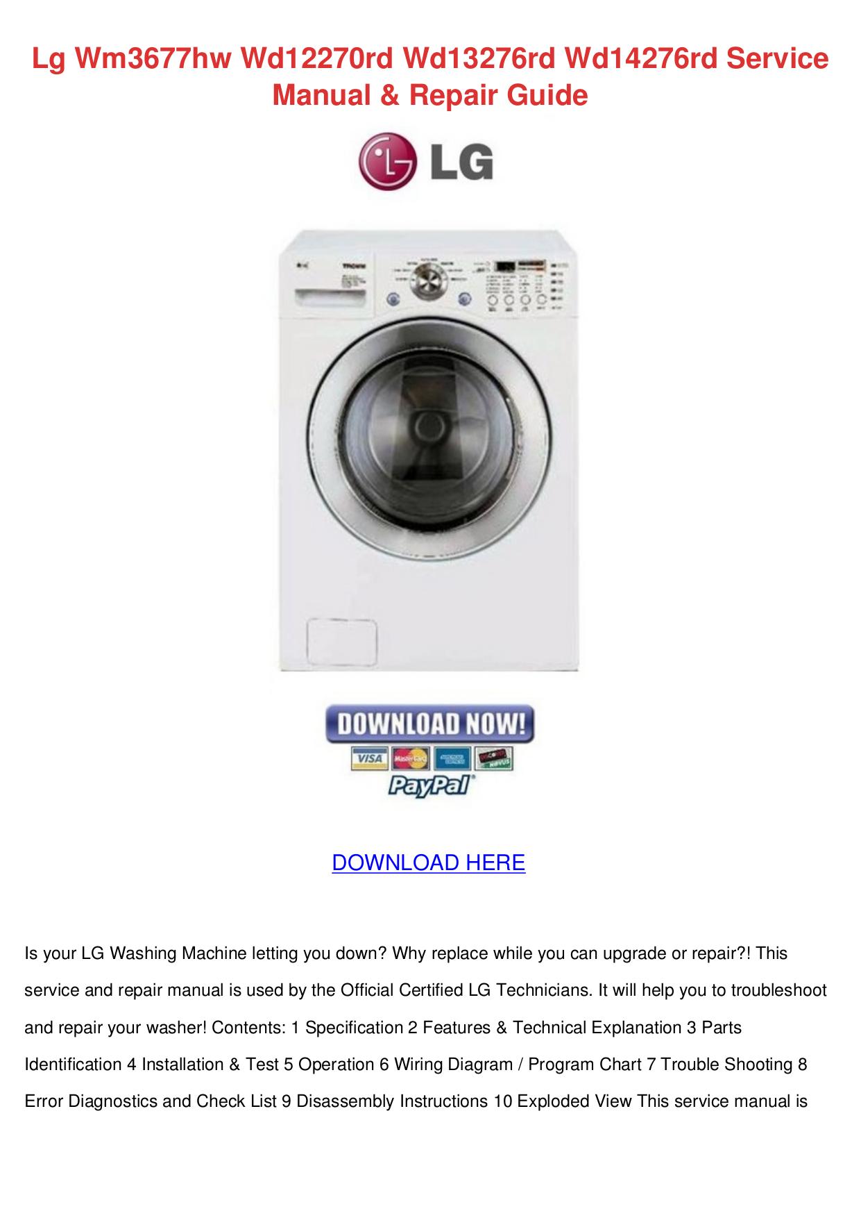 Download Free Pdf For Lg Wm3677hw Washer Manual