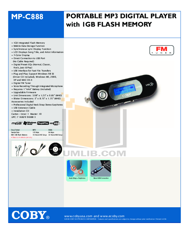 download free pdf for coby mp c888 mp3 player manual rh umlib com MP3 Music Player Coby MP3 Player Instructions