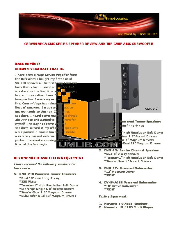pdf for Cerwin-Vega Subwoofer V-12S manual