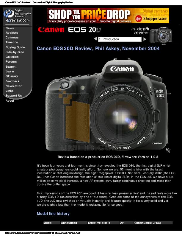 pdf for Canon Digital Camera EOS 20D manual