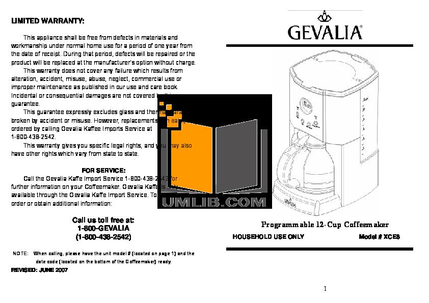 Pdf For Gevalia Coffee Maker Xce 8 Manual