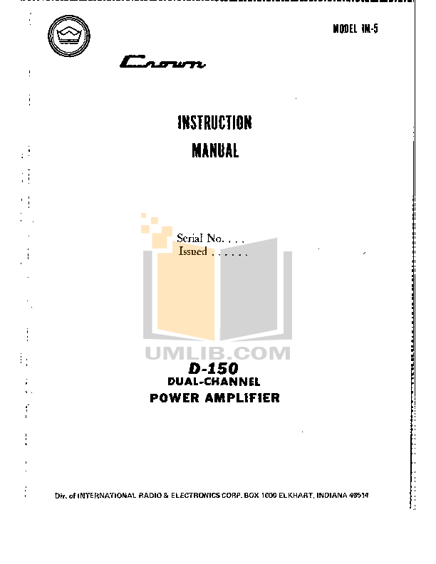 pdf for Crown Other IC-150 Stereo Consoles manual