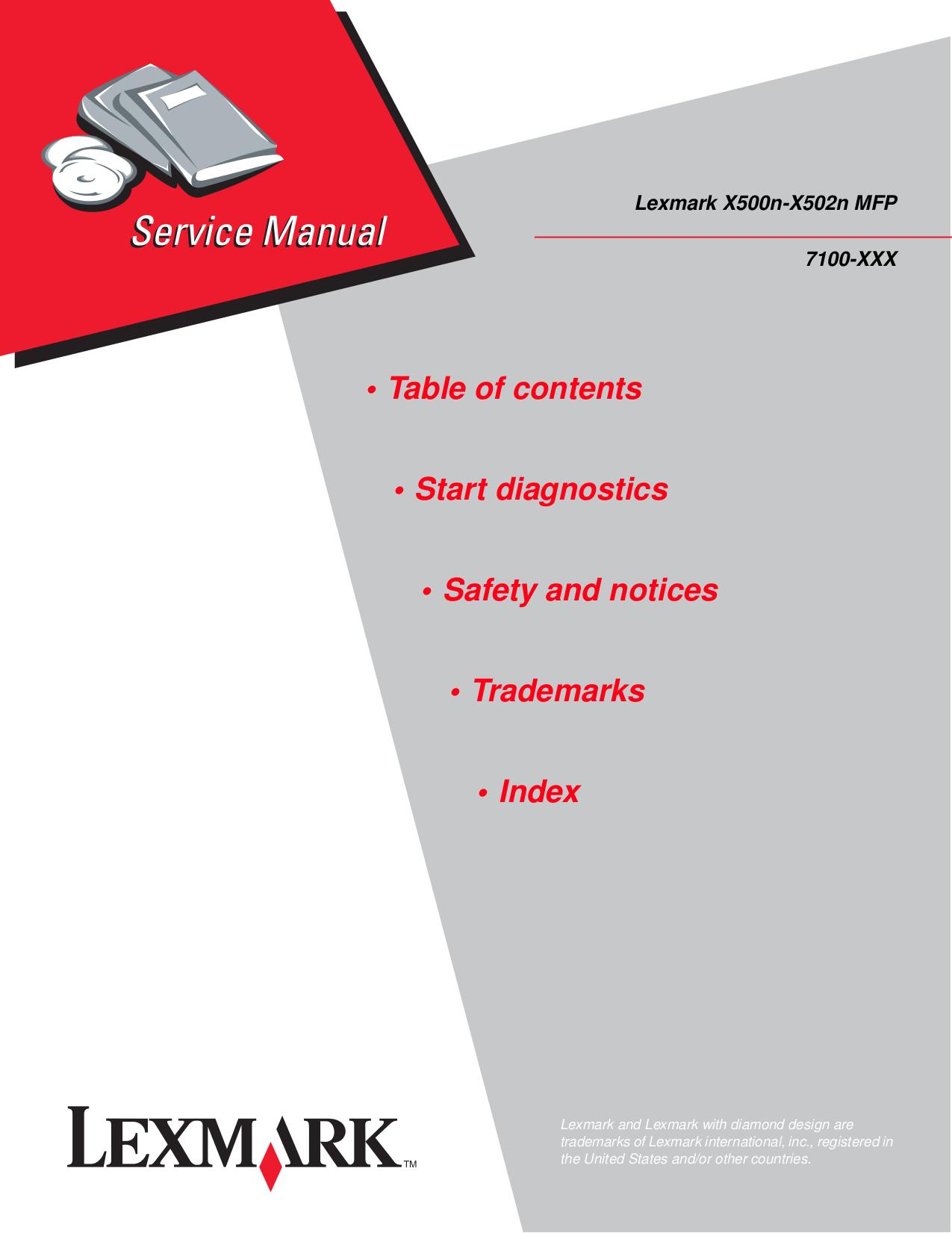pdf for Lexmark Printer X500 manual
