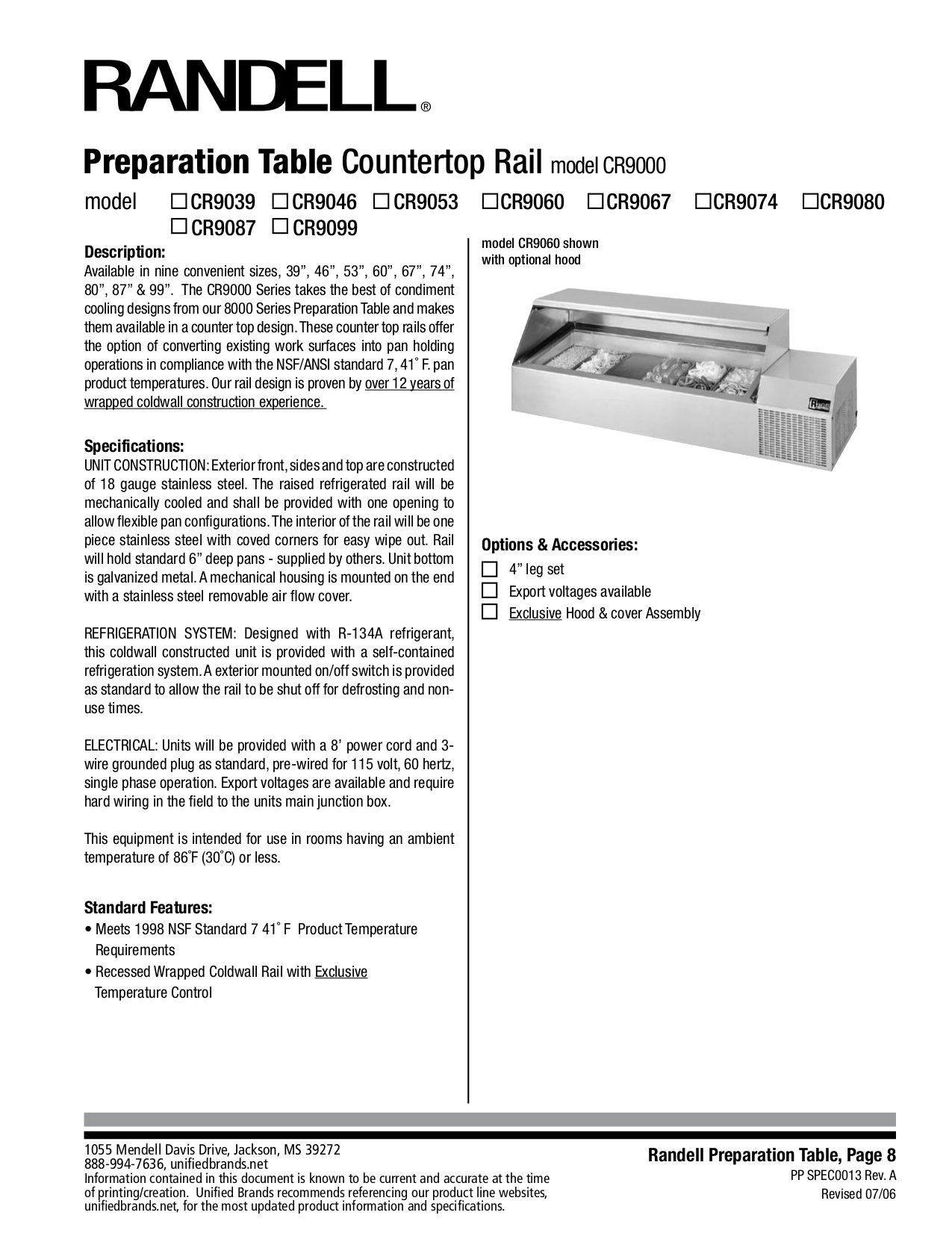 pdf for Randell Other CR9080 Countertops manual