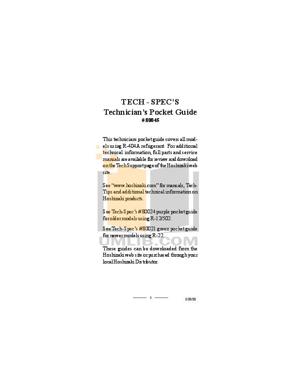 pdf for Hoshizaki Other KN-F Series KN-90F-LA Refrigeration Counter manual