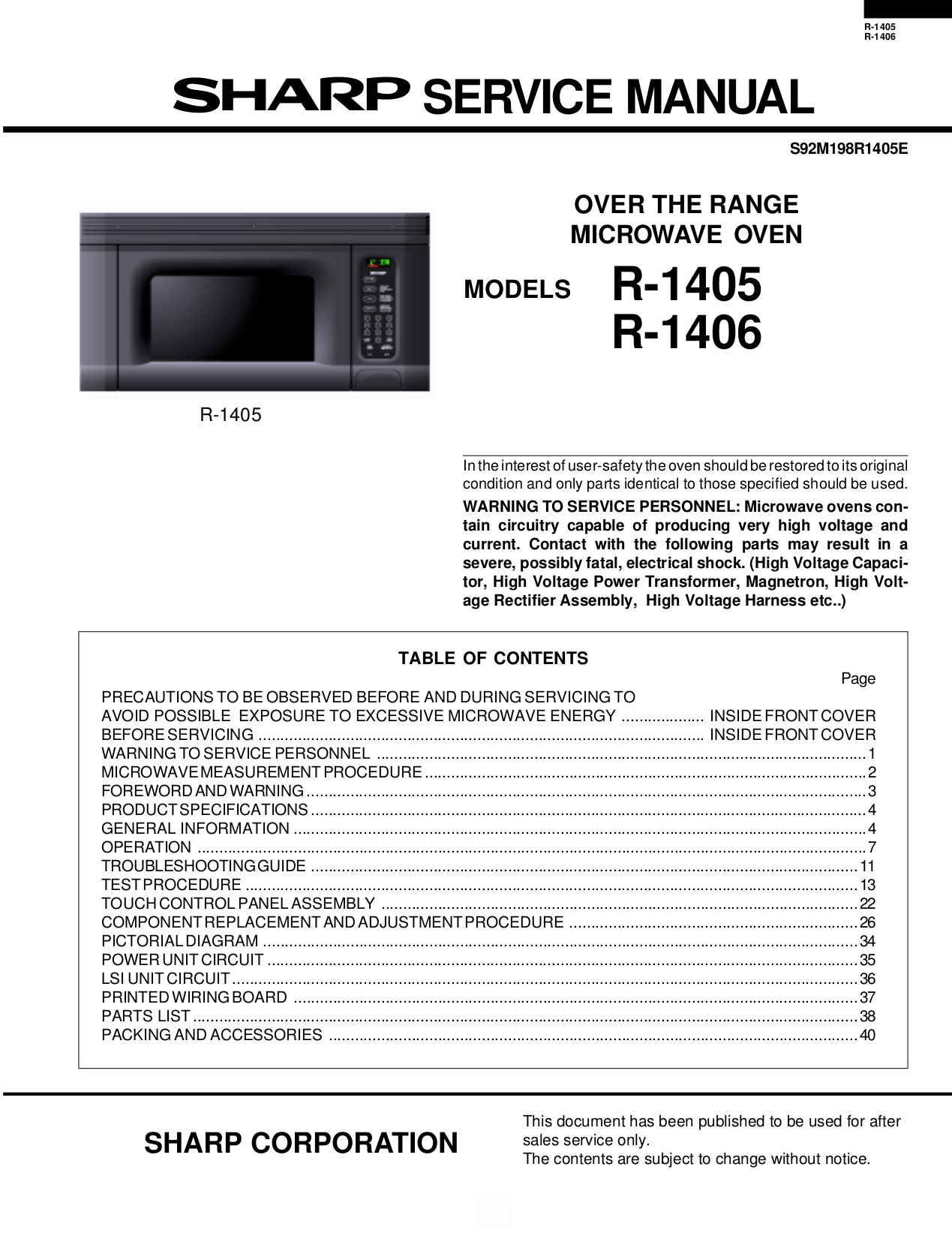 Pdf For Sharp Microwave R 1405 Manual