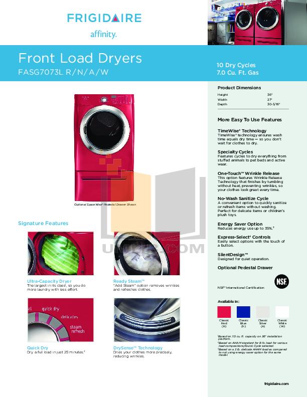 pdf for Frigidaire Dryer Affinity FASG7073L manual
