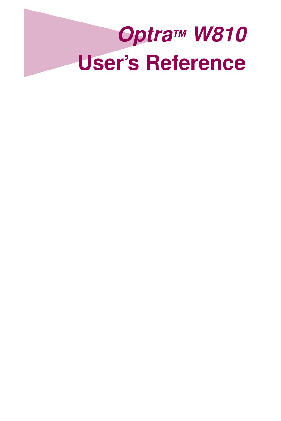 pdf for Lexmark Printer Optra W810 manual