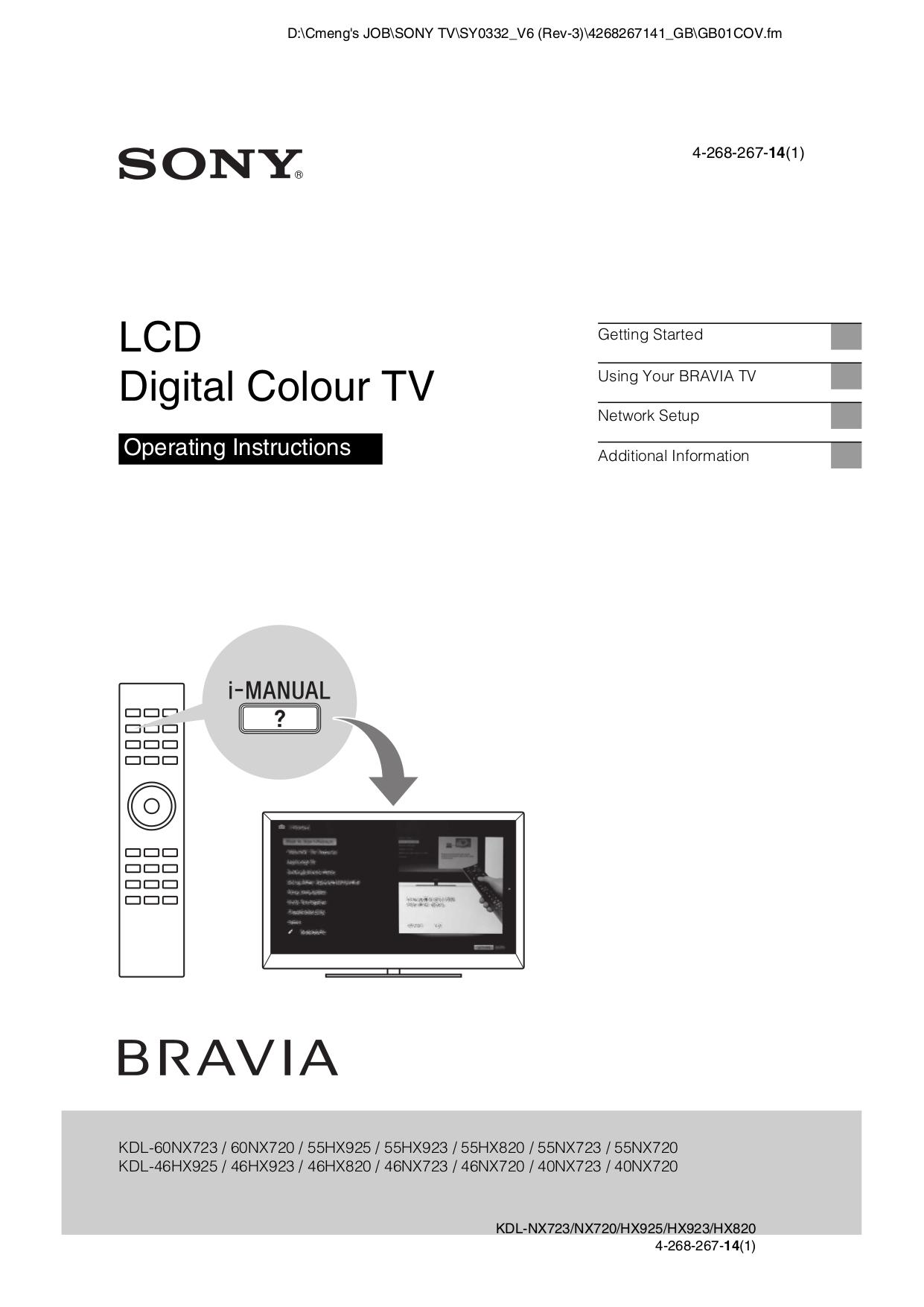 download free pdf for sony bravia kdl 46nx720 lcd tv manual rh umlib com sony bravia owners manual owner's manual sony bravia