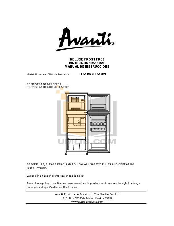 pdf for Avanti Refrigerator FF512PS manual