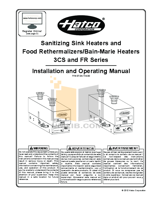 pdf for Hatco Other FRC-I manual