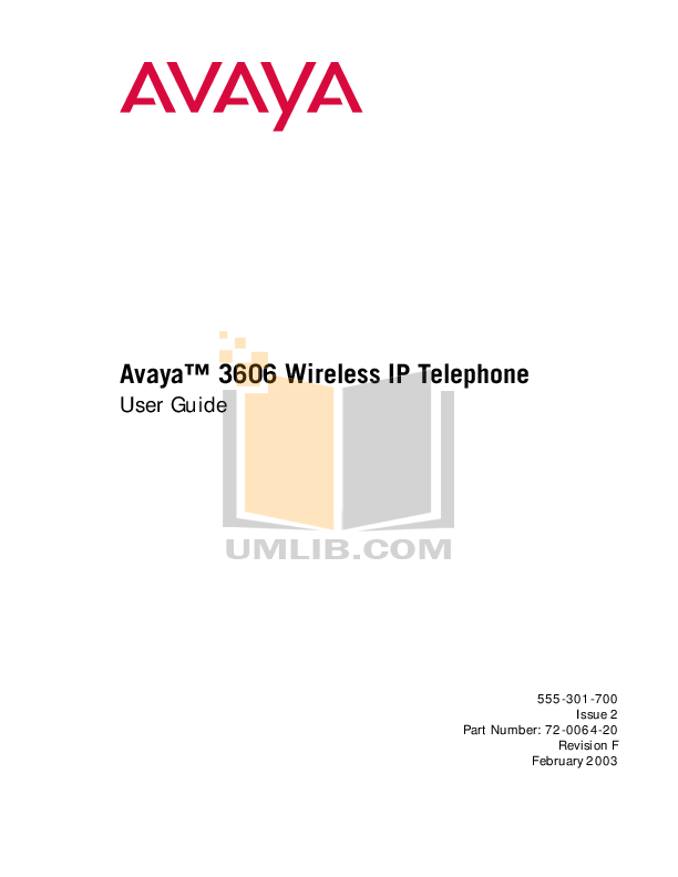 pdf for Avaya Telephone 3606 manual