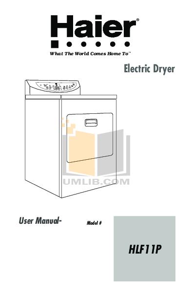 pdf for Haier Dryer HLF11P manual